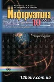 ГДЗ Інформатика 10 клас Й.Я. Ривкінд, Т.І. Лисенко, Л.А. Чернікова, В.В. Шакотько (2010). Відповіді та розв'язання